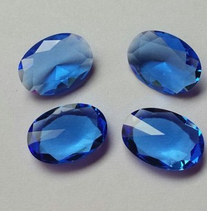 Blue Sapphire Faceted Oval Glass Gem (single)